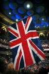 The Union Jack flying at The Last Night of the Proms in the Royal Albert Hall